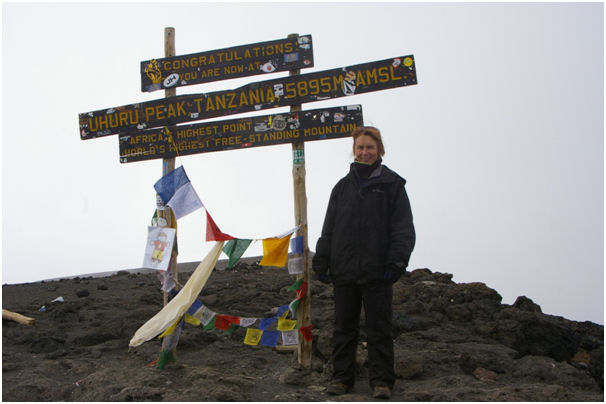 On the summit of Kilimanjaro, under many layers of clothes!